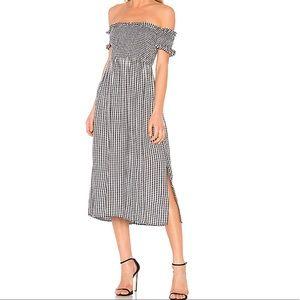Bardot Off shoulder Gingham dress